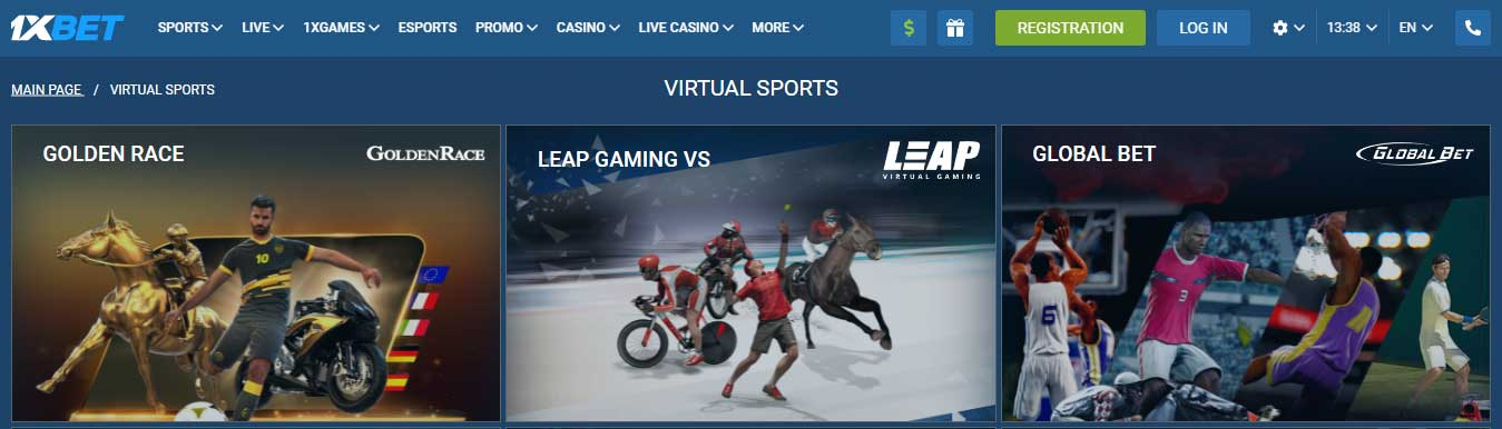 Выбор виртуального спорта в 1xBet