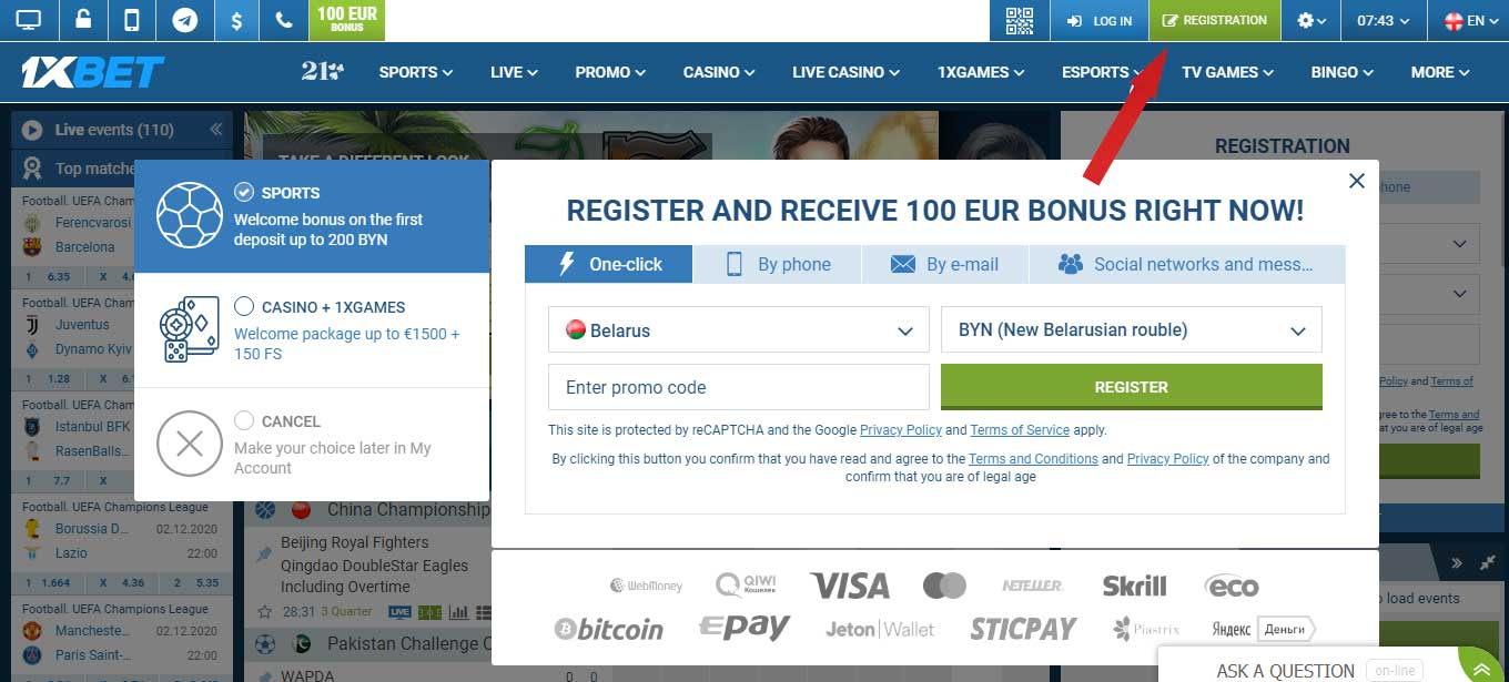 Use this promo code: BETHAP.  To receive a bonus of up to 130 euros