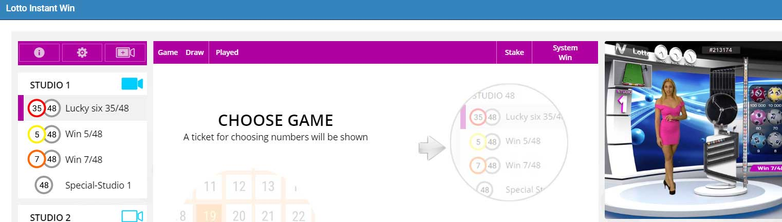 1xBet - Lotto Instant Win section
